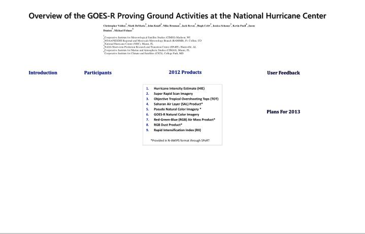 Overview of the GOES-R Proving Ground Activities at the National Hurricane Center