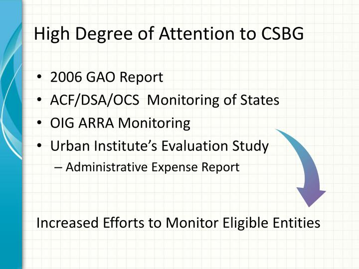High degree of attention to csbg