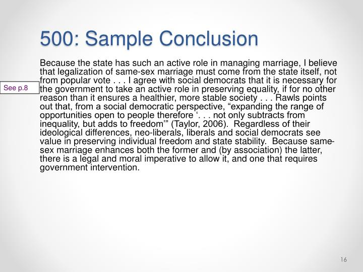500: Sample Conclusion