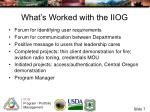 what s worked with the iiog