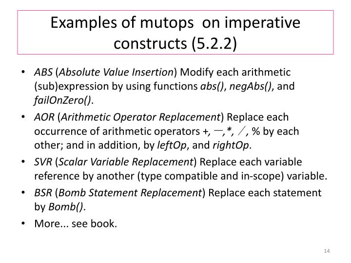 Examples of mutops  on imperative constructs (5.2.2)