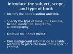 introduce the subject scope and type of book