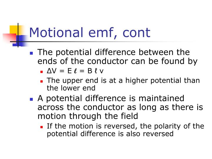 Motional emf, cont