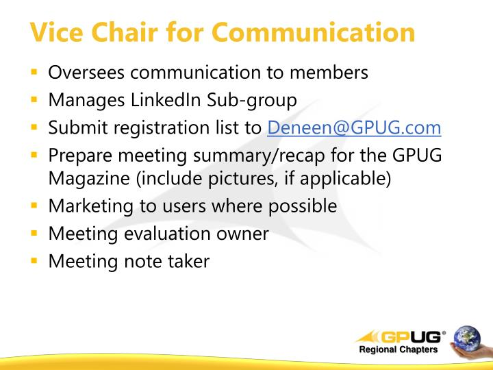 Vice Chair for Communication