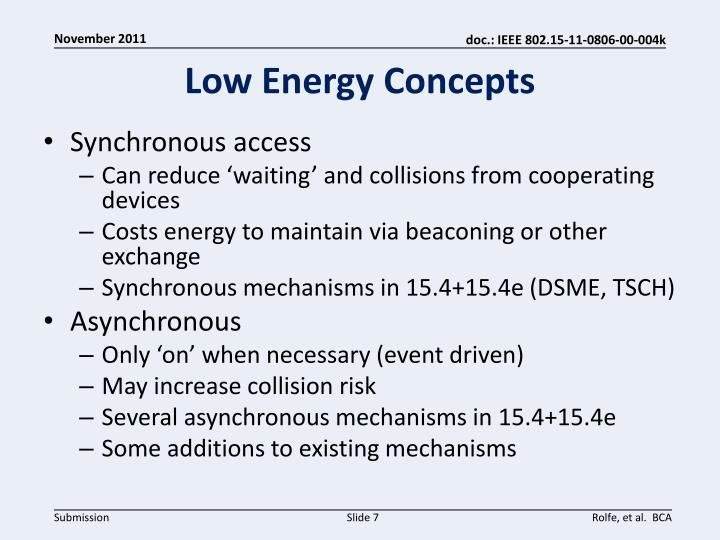 Low Energy Concepts
