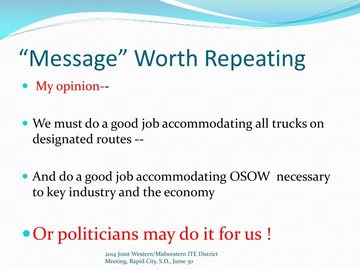 """""""Message"""" Worth Repeating"""