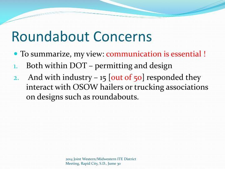 Roundabout Concerns