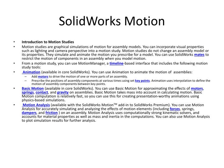 solidworks motion n.