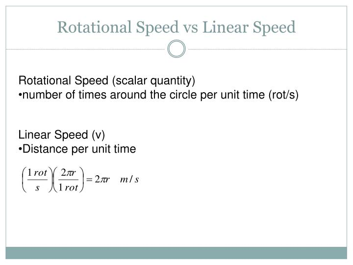 Rotational speed vs linear speed