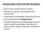 lasting impact of the scientific revolution