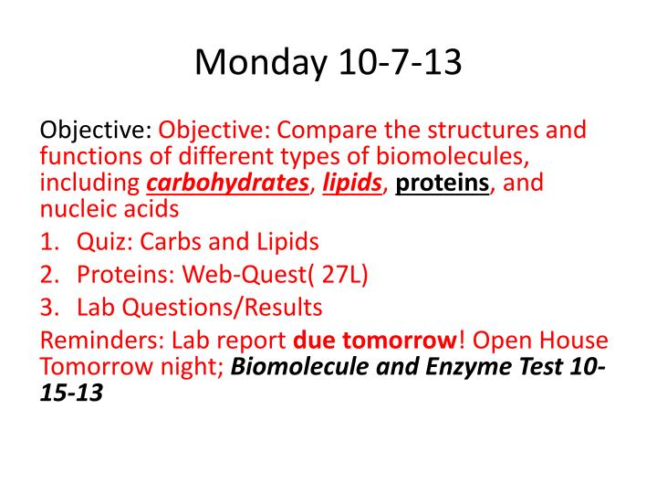 Monday 10 7 13