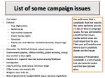 list of some campaign issues
