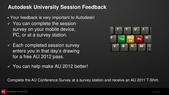 Autodesk University Session Feedback