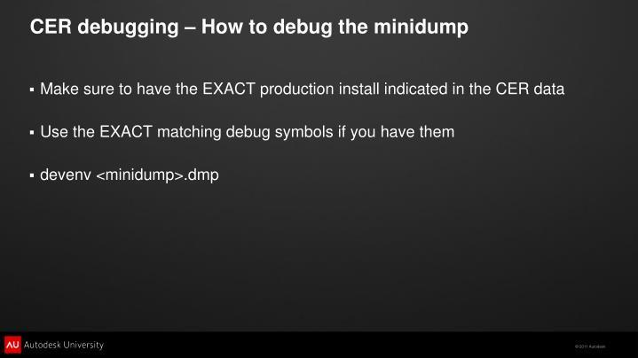 CER debugging – How to debug the