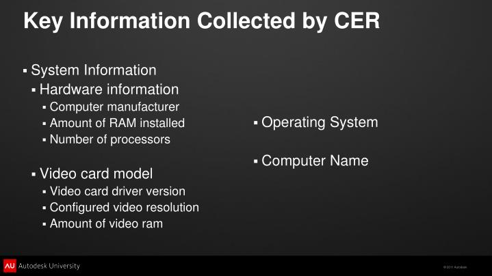 Key Information Collected by CER