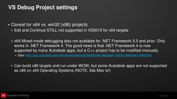 VS Debug Project settings