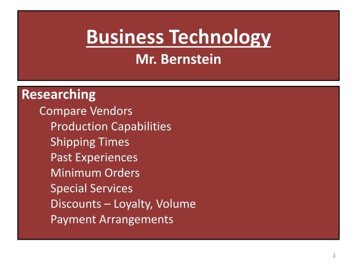 Business technology mr bernstein1