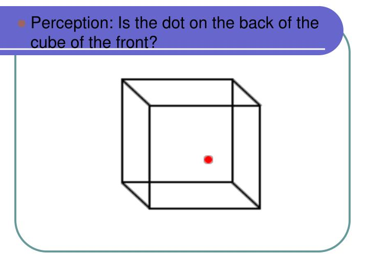 Perception: Is the dot on the back of the cube of the front?