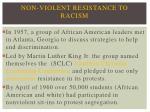 non violent resistance to racism