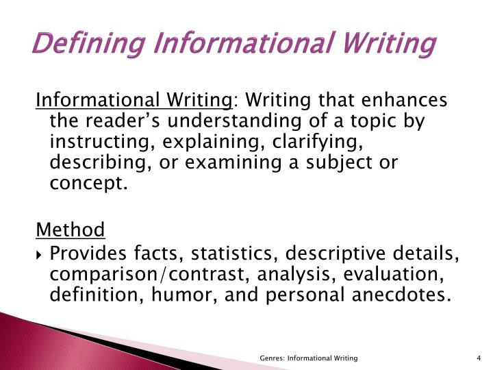 Defining Informational Writing
