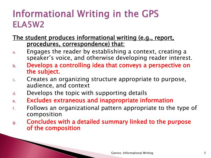 Informational Writing in the GPS