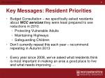 key messages resident priorities