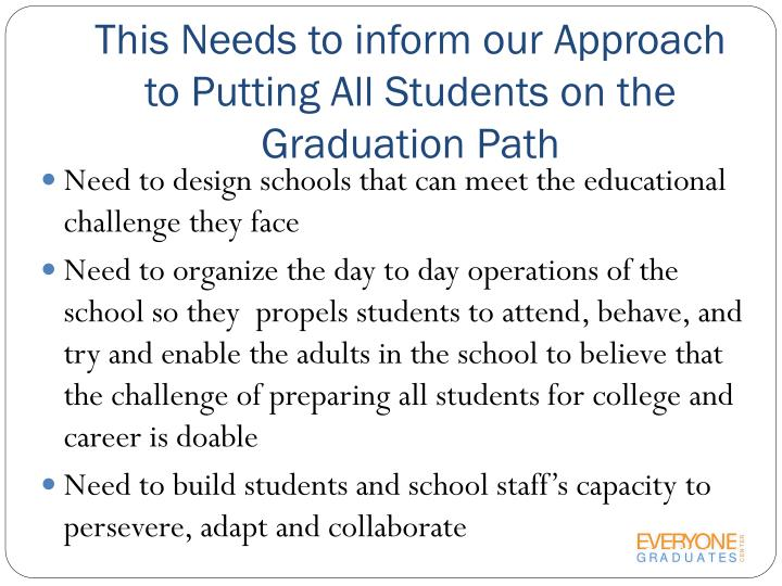 This Needs to inform our Approach to Putting All Students on the Graduation Path