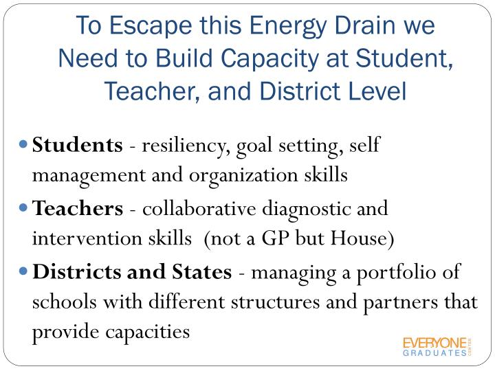 To Escape this Energy Drain we Need to Build Capacity at Student, Teacher, and District Level