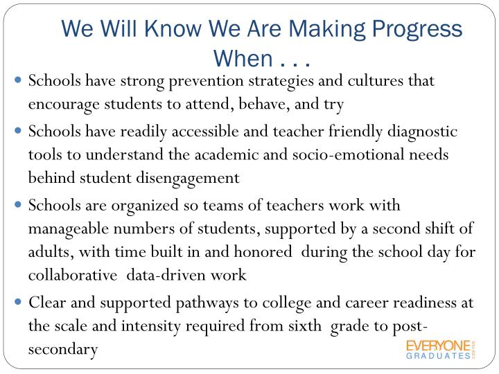 We Will Know We Are Making Progress When . . .