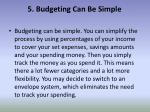 5 budgeting can be simple
