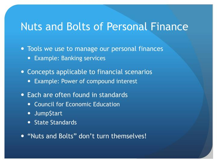 Nuts and bolts of personal finance