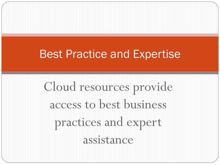 Best Practice and Expertise