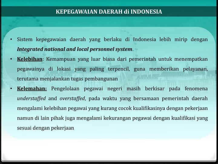 KEPEGAWAIAN DAERAH di INDONESIA