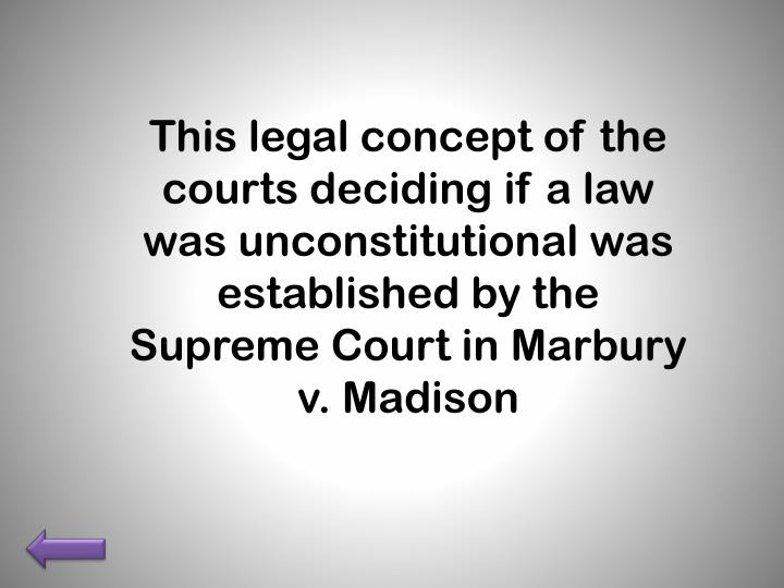This legal concept of the courts deciding if a law was unconstitutional was established by the Supreme Court in Marbury v. Madison