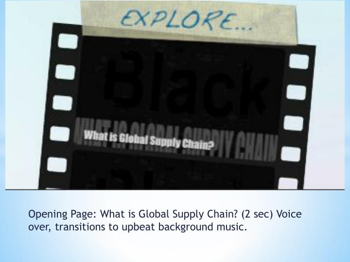 Opening page what is global supply chain 2 sec voice over transitions to upbeat background music