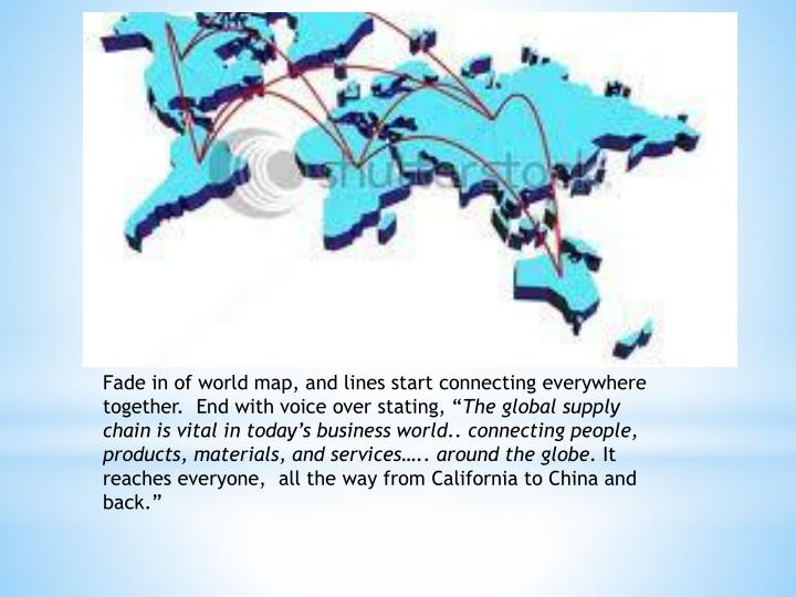 """Fade in of world map, and lines start connecting everywhere together.  End with voice over stating, """""""