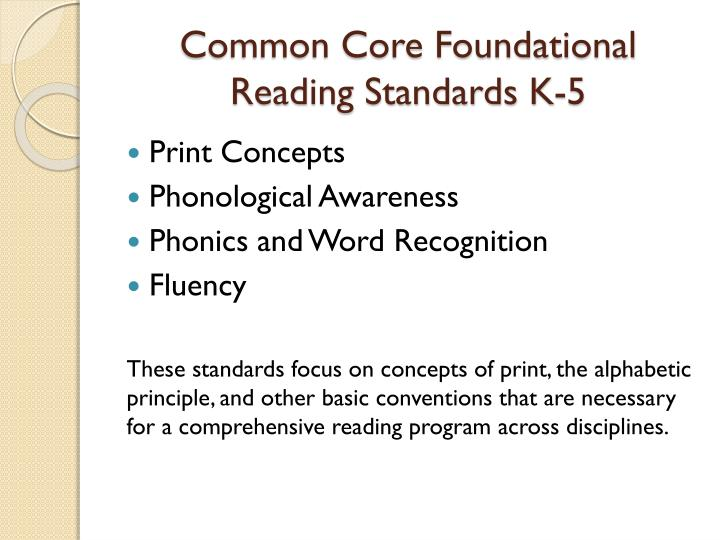 Common Core Foundational Reading Standards K-5
