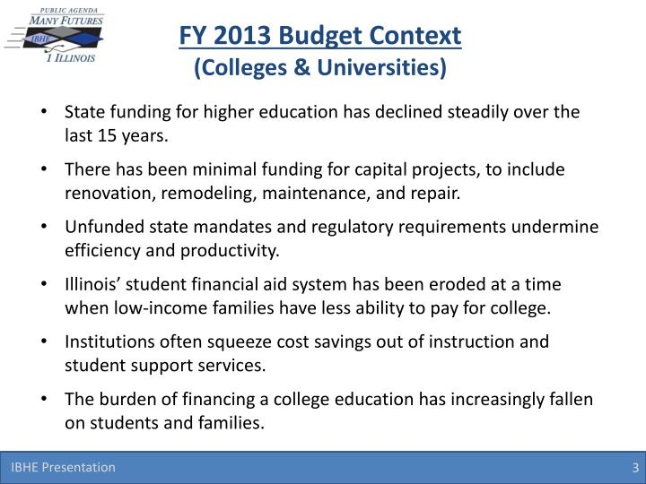 Fy 2013 budget context colleges universities