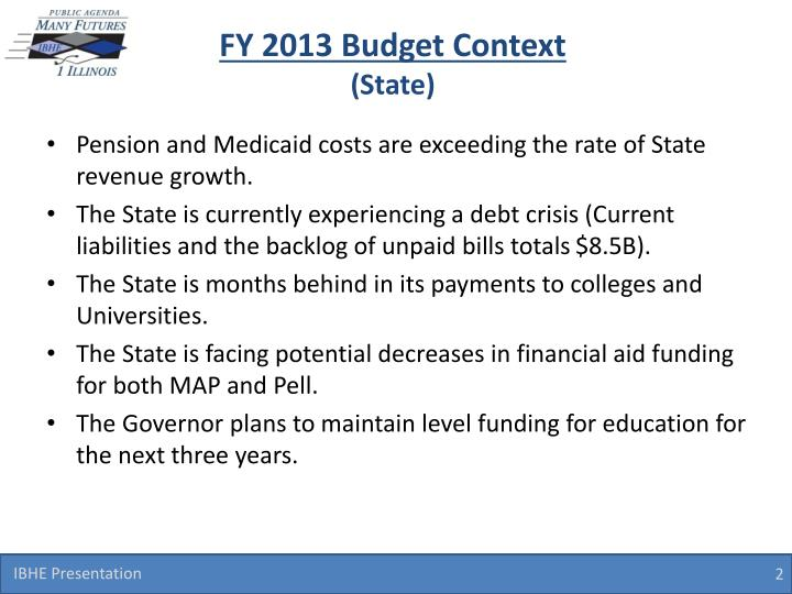 Fy 2013 budget context state