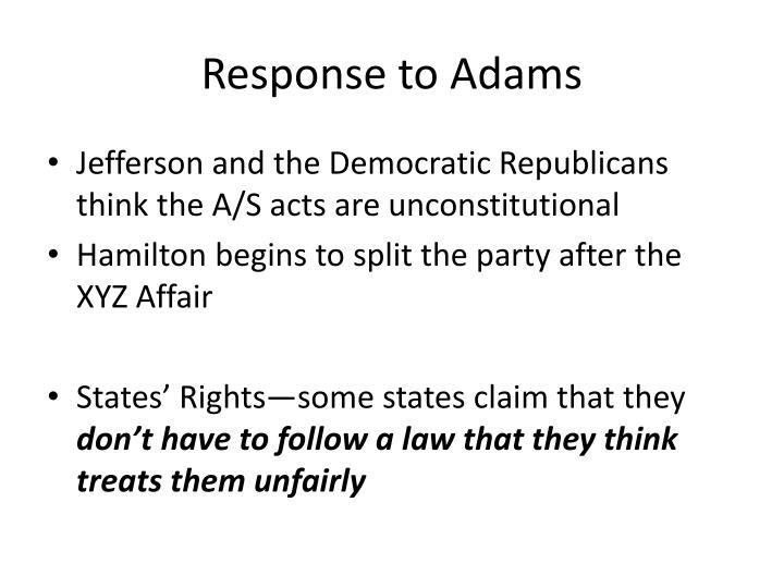 Response to Adams
