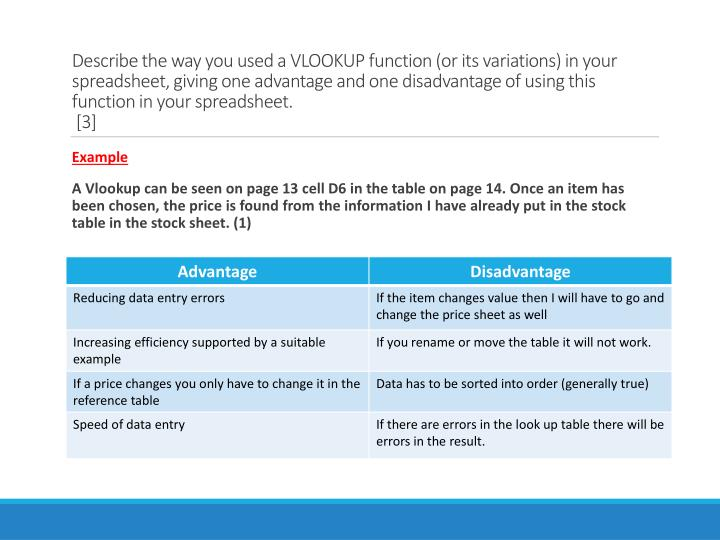 Describe the way you used a VLOOKUP function (or its variations) in your spreadsheet,