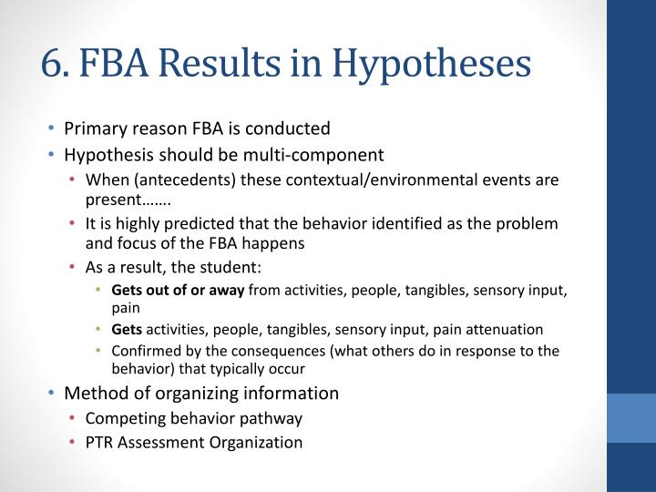 6. FBA Results in Hypotheses