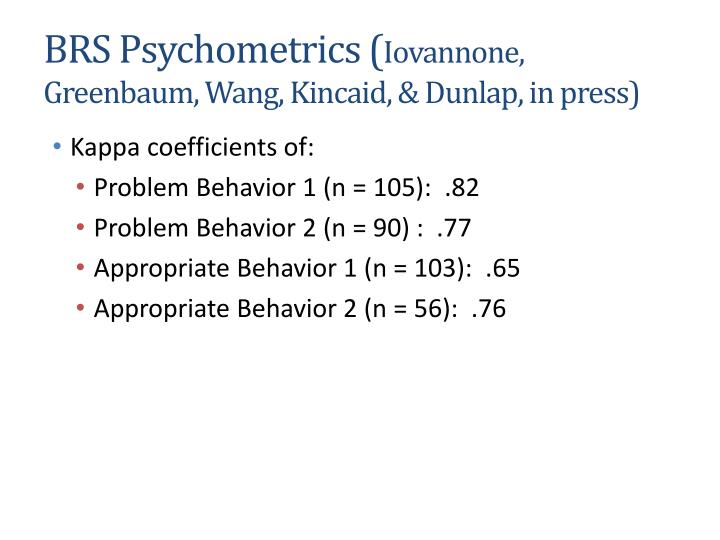 BRS Psychometrics (