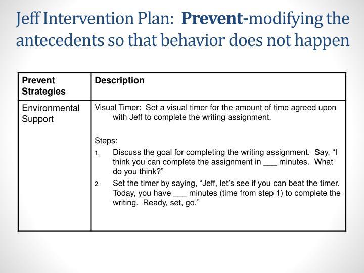 Jeff Intervention Plan: