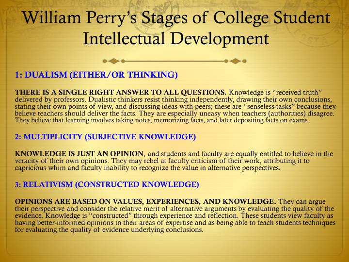 William Perry's Stages of College Student Intellectual Development