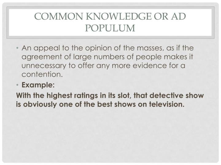 Common knowledge or ad