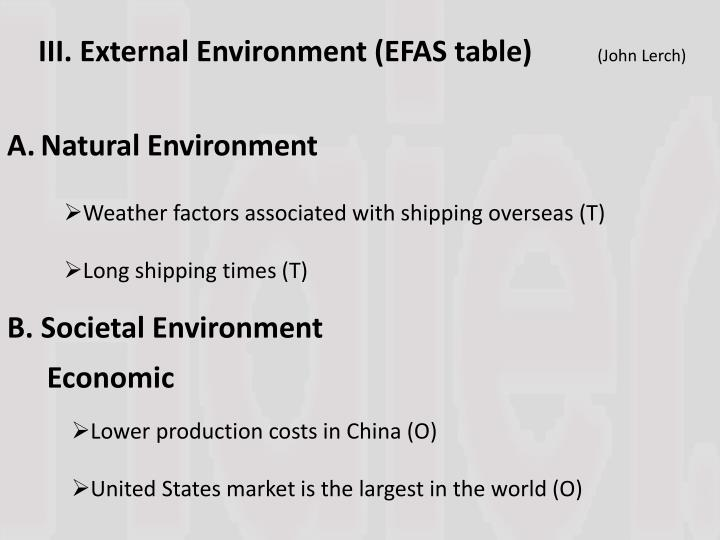 III. External Environment (EFAS table)