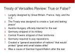 treaty of versailles review true or false