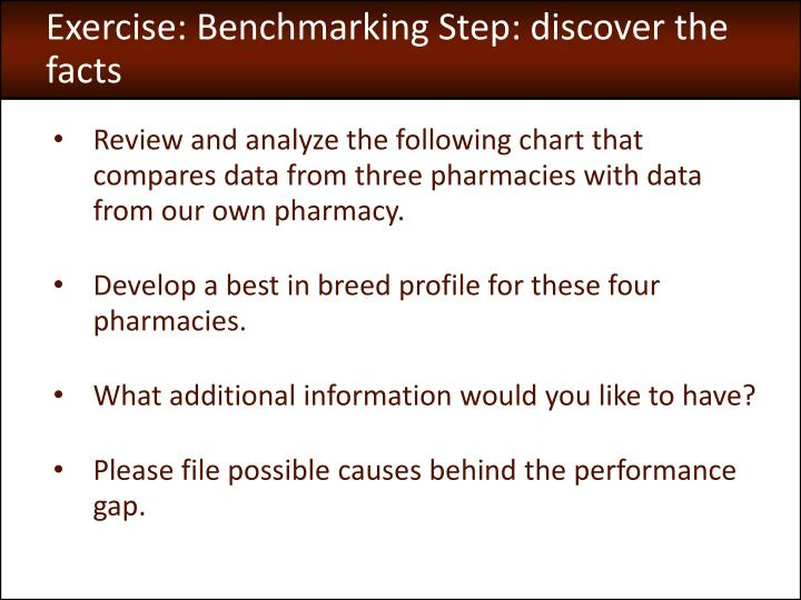 Exercise: Benchmarking Step: discover the facts