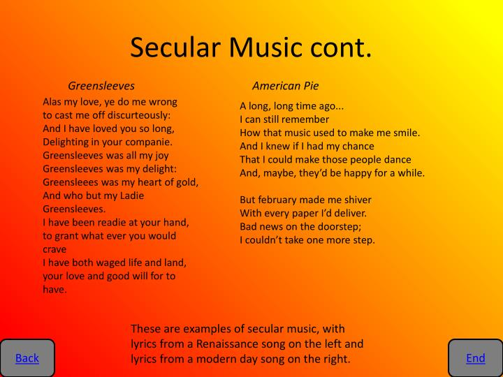 Secular Music cont.